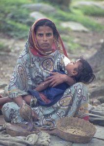 donna, bambino, serpente, Kathmandu, Nepal